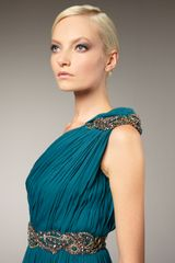 Marchesa Couture Grecian Oneshoulder Gown in Blue (teal) - Lyst