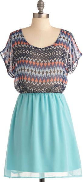 Modcloth Sea Blue Diamond Dress in Multicolor (sea) - Lyst