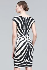 Roberto Cavalli Zebra print Sheath Dress in Black - Lyst
