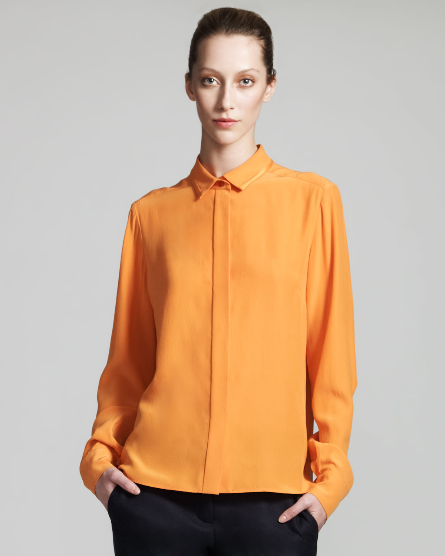 deb171ab7d85c Stella McCartney Silk Blouse in Orange - Lyst