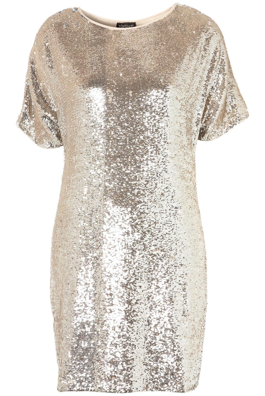 topshop premium sequin tshirt dress in metallic lyst. Black Bedroom Furniture Sets. Home Design Ideas