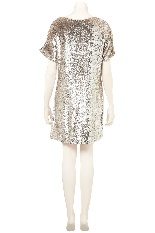 Lyst Topshop Premium Sequin Tshirt Dress In Metallic