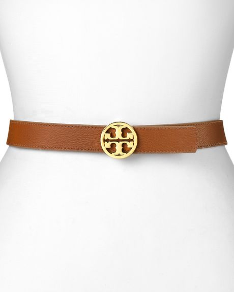 Tory Burch Belt Skinny Edye Reversible in Beige (natural coconut) - Lyst