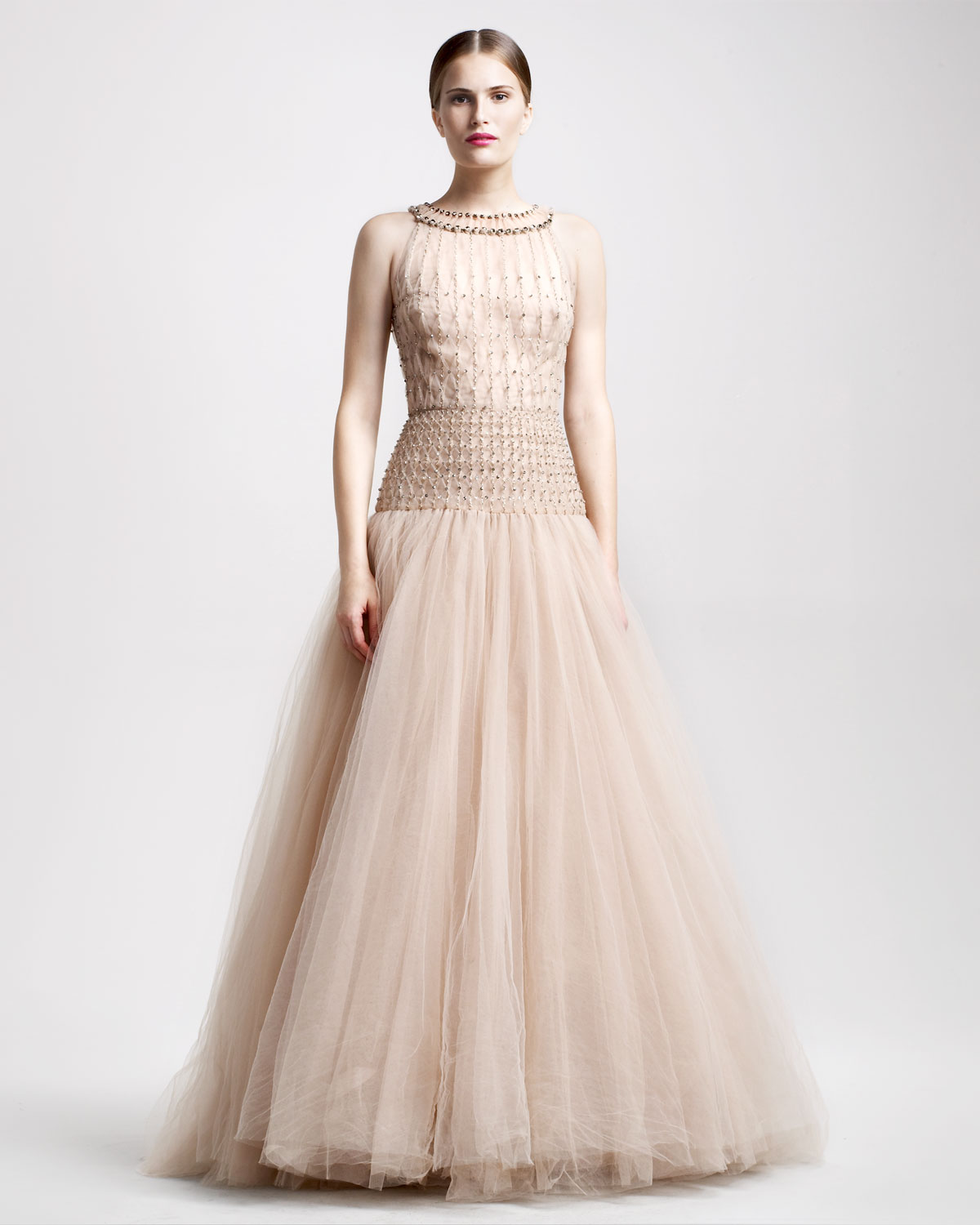 Valentino Tulle Illusion Ball Gown in Natural - Lyst