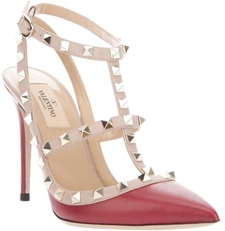 Valentino Studded Pump in Red - Lyst