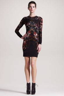 Alexander McQueen Engineered Floralprint Intarsia Dress - Lyst