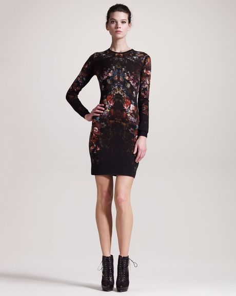Alexander Mcqueen Engineered Floralprint Intarsia Dress in Black - Lyst
