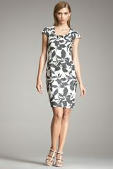 Armani Graphic Floral-print Dress - Lyst
