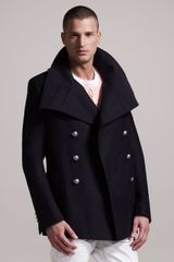 Balmain Danton collar Cotton Pea Coat - Lyst