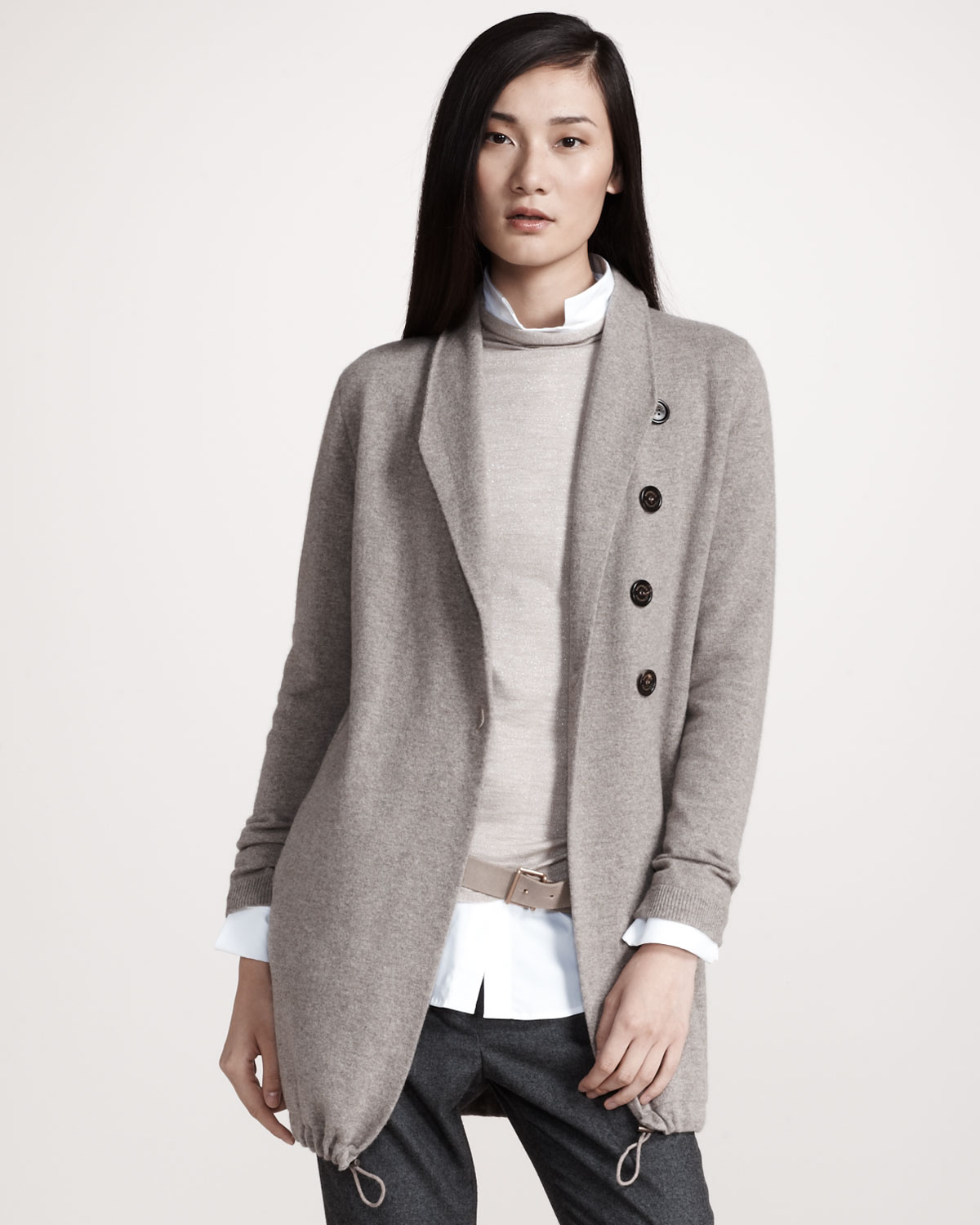 Brunello cucinelli Cashmere Cardigan Jacket in Natural | Lyst