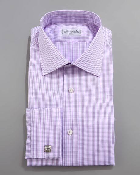Charvet Check French Cuff Dress Shirt In Purple For Men Lyst