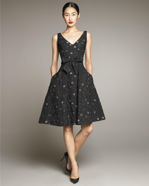 David meister Dot-print Full-skirt Dress in Black  Lyst