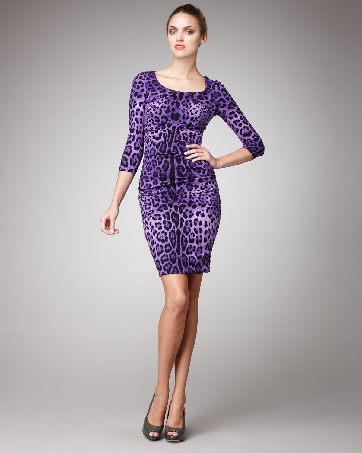 Lyst - Dolce   Gabbana Leopard-print Sheath Dress in Purple 7a3716d0c