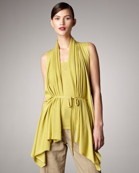 Donna Karan New York Tiewaist Vest in Yellow - Lyst
