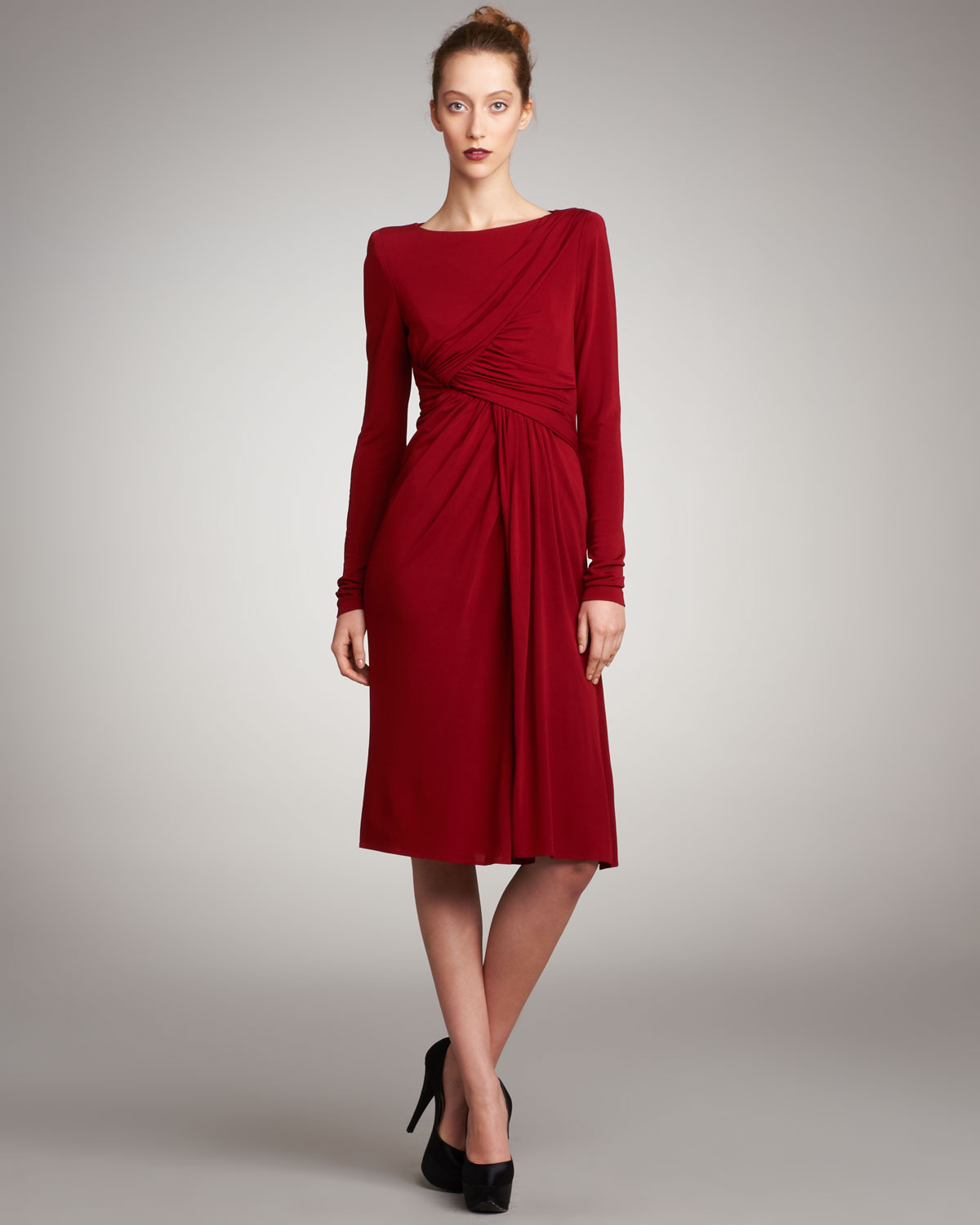 Lyst - Elie Saab Draped Jersey Cocktail Dress in Red