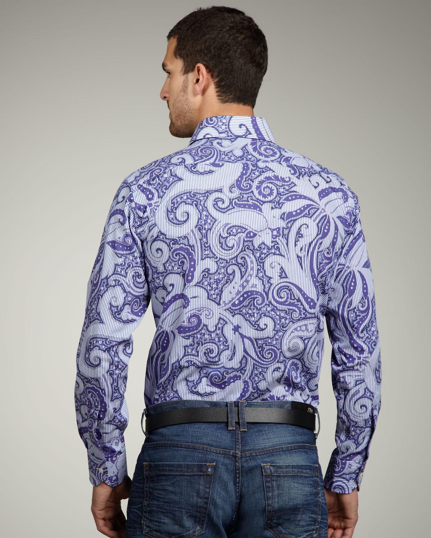 Lyst Etro Paisley Print Shirt In Purple For Men