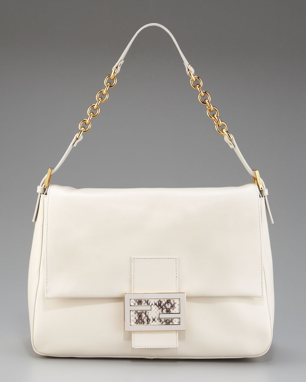 199e11cf137c Lyst - Fendi Big Mama Leather Shoulder Bag in White