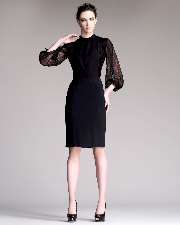 Lyst - Fendi Teardrop Sleeve Dress in Black