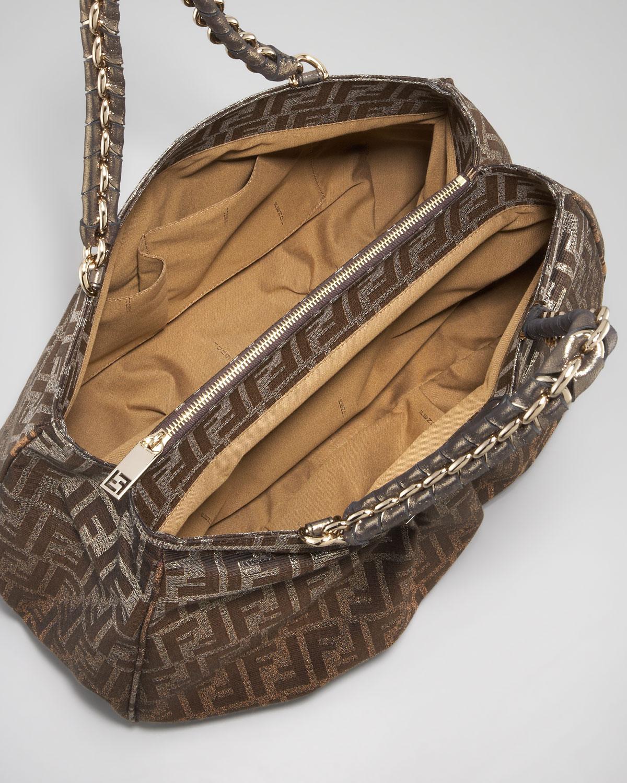 30a1ba08ade6 ... discount code for lyst fendi mia metallic zucca shoulder bag in brown  77196 bc3f2 ...