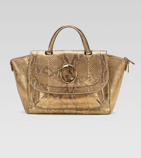 Gucci Medium Top Handle Bag Orochampagne Python in Gold (champagne) - Lyst