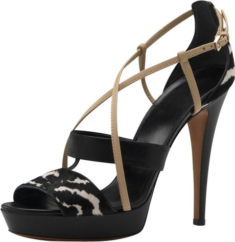 Gucci Betty Highheel Platform Sandal in Black (zebra) - Lyst