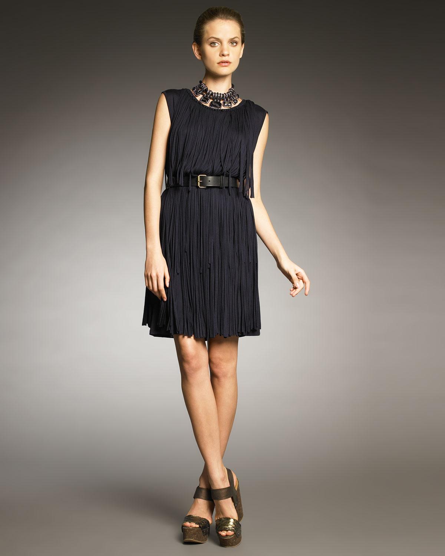 Navy Blue Fringe Dress