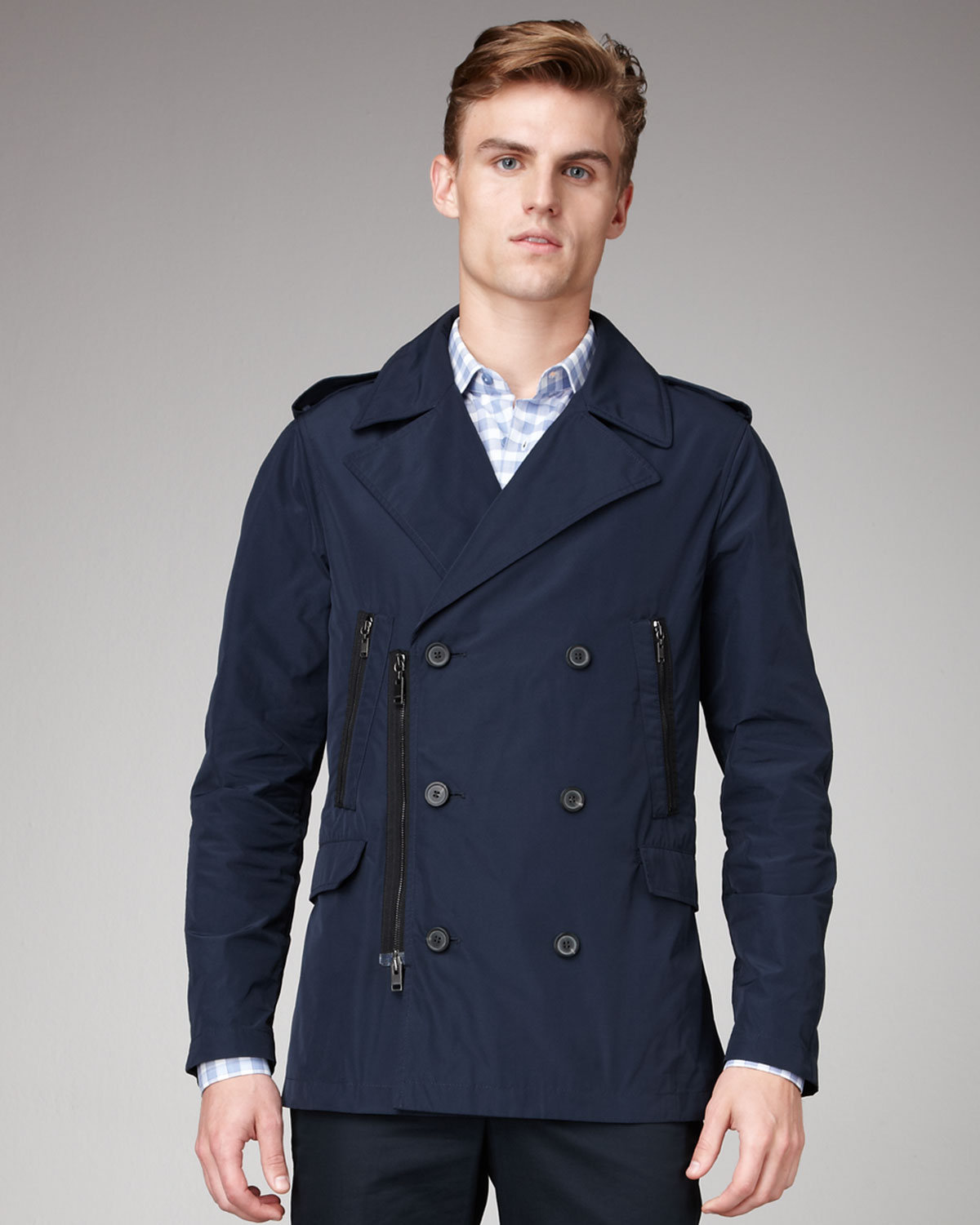Navy Pea Coats For Men 48Mza1