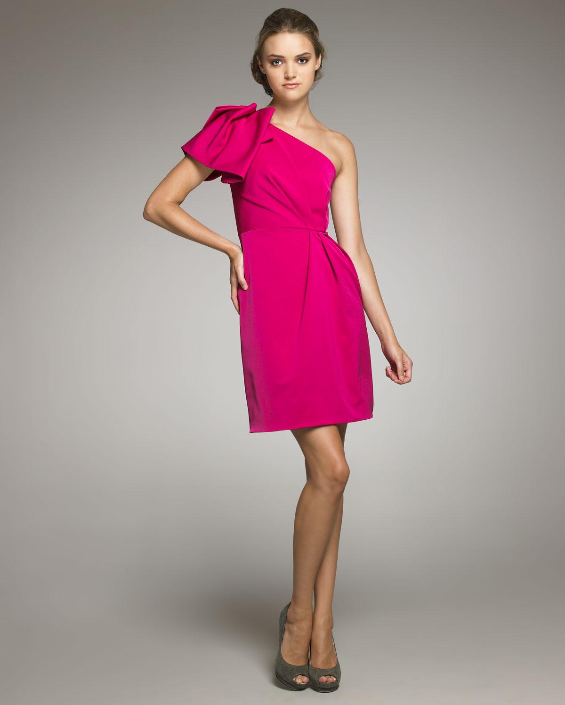 Lyst - Lela Rose Gathered One-shoulder Dress in Pink