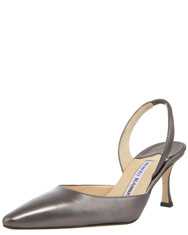 manolo blahnik metallic napa high heel halter gunmetal in silver gunmetal lyst. Black Bedroom Furniture Sets. Home Design Ideas