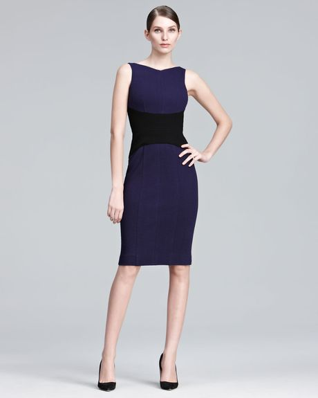 Narciso Rodriguez Contrast Waist Sheath Dress in Purple (violet) - Lyst