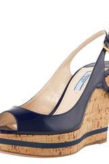 Prada Patent and Cork Slingback Wedge - Lyst