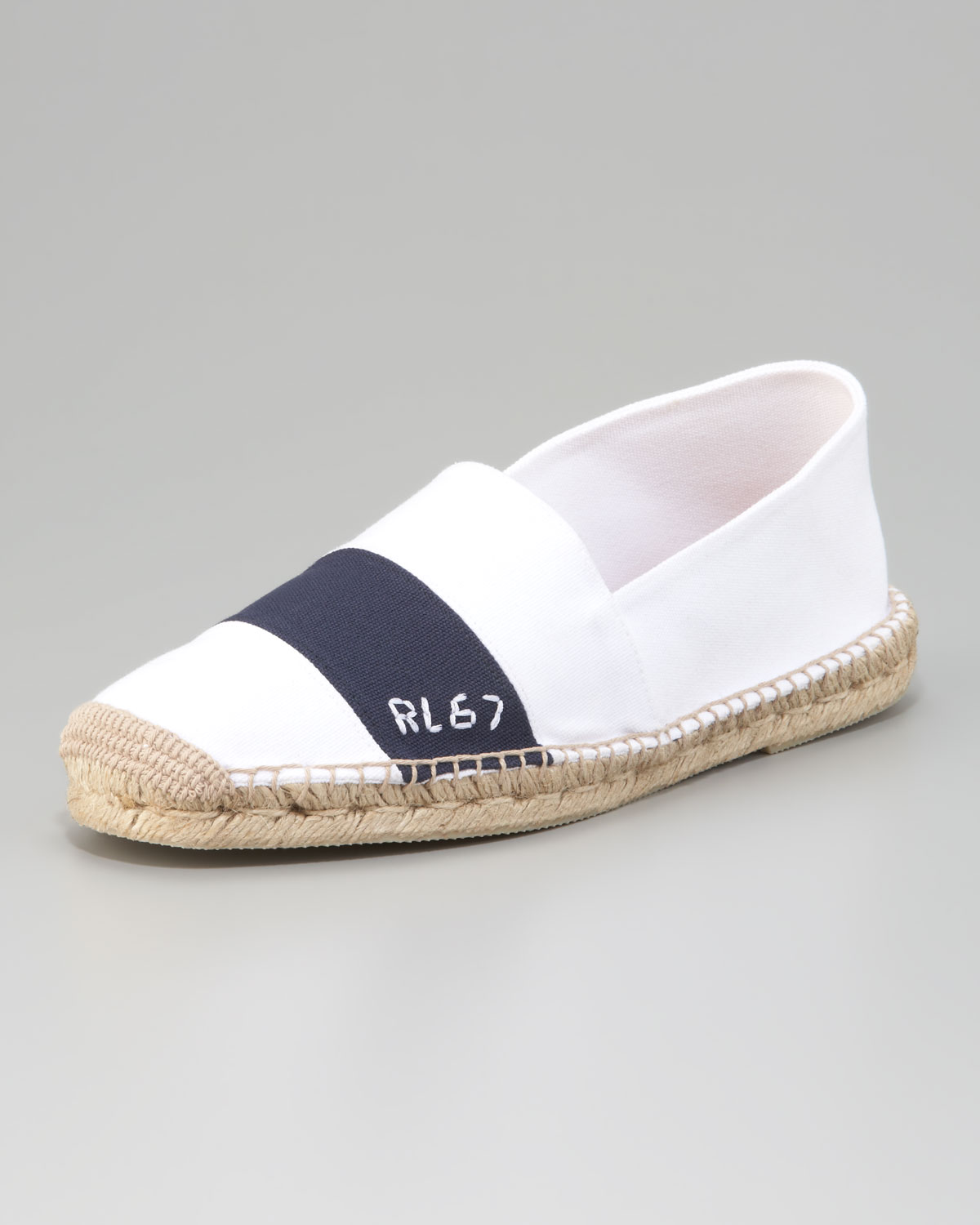 Lyst - Ralph Lauren Striped Canvas Espadrille in White for Men ac6814273be0