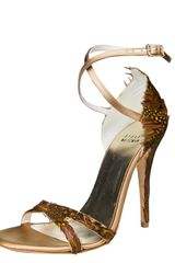 Stuart Weitzman Satin Feather Sandal - Lyst
