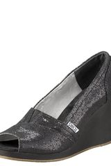 Toms Shoes Glittered Peep-toe Wedge - Lyst