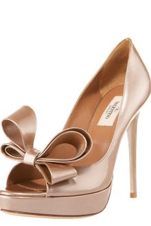 Valentino Couture Bow Platform Pump Light Brown Metallic - Lyst