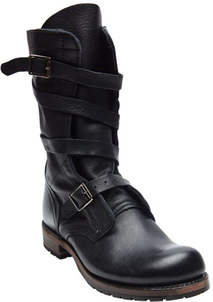 Vintage Shoe Company Jennifer Tanker Boot In Black Lyst