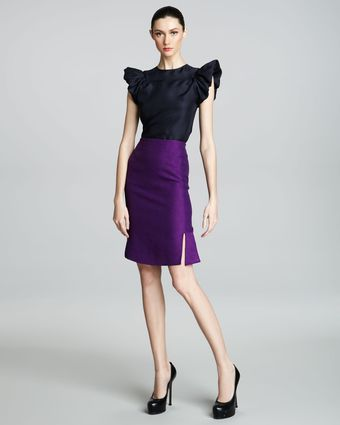 Yves Saint Laurent Fit-and-flare Skirt, Purple - Lyst