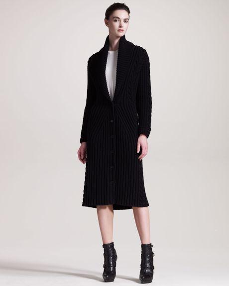 Alexander Mcqueen Long Ribbed Knit Cardigan in Black Lyst