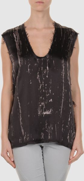 Balmain Sleeveless Tshirt in Brown - Lyst