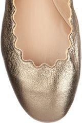 Chloé Lauren Metallic Leather Ballet Flats in Gold (anthracite) - Lyst