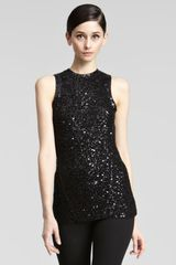 Donna Karan New York Sequined Knit Top - Lyst