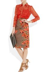 Erdem Cecilia Lace Shirt in Orange - Lyst