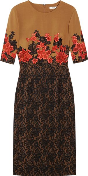 Erdem Ivy Embroidered Stretchcrepe and Lace Dress in Brown (tobacco) - Lyst