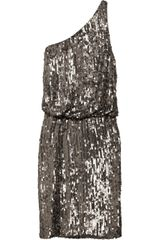 Halston Heritage Oneshoulder Sequined Crepe Dress