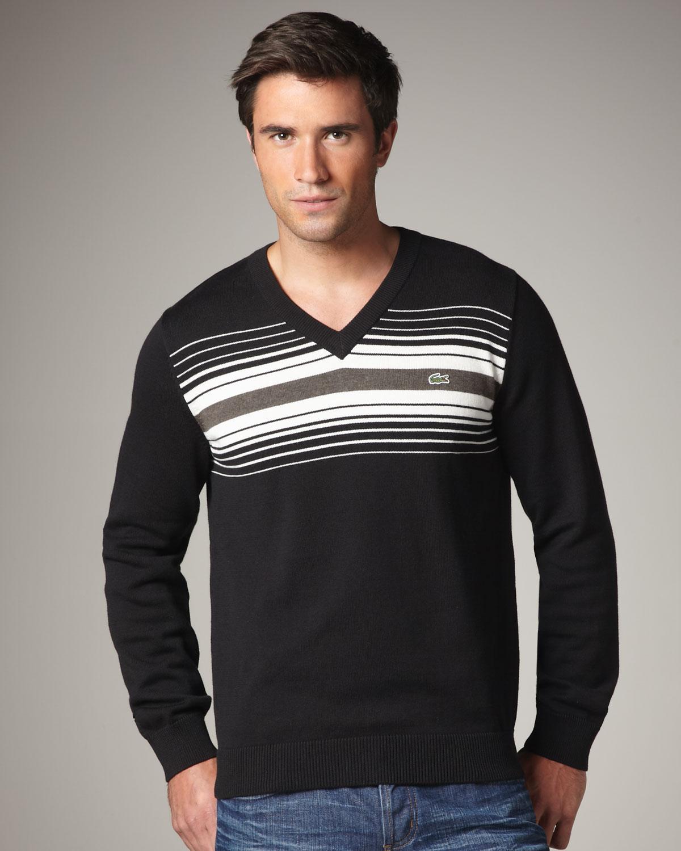 05a3c50a149e Lyst - Lacoste Chest-stripe V-neck Sweater in Black for Men