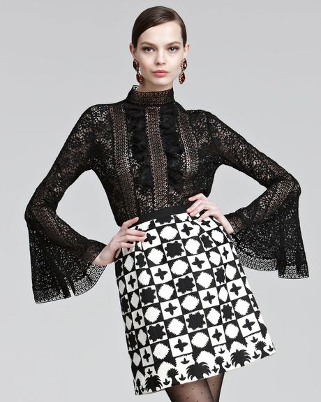 Oscar De La Renta Lace Blouse in Black - Lyst