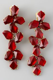 Oscar de la Renta Clustered Crystal Drop Earrings Red - Lyst