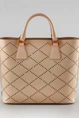 Prada Perforated Saffiano Tote - Lyst
