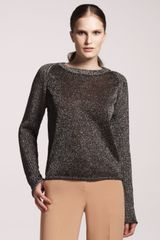Reed Krakoff Metallic Combo Knit Crewneck Sweater - Lyst