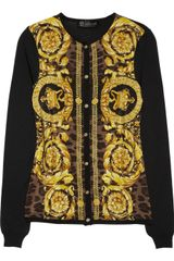 Versace Printed Panel Wool Silk and Cashmere Blend Cardigan - Lyst